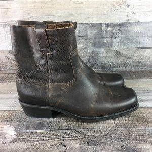 Robert Wayne Brown Leather Slip On Ankle Boots